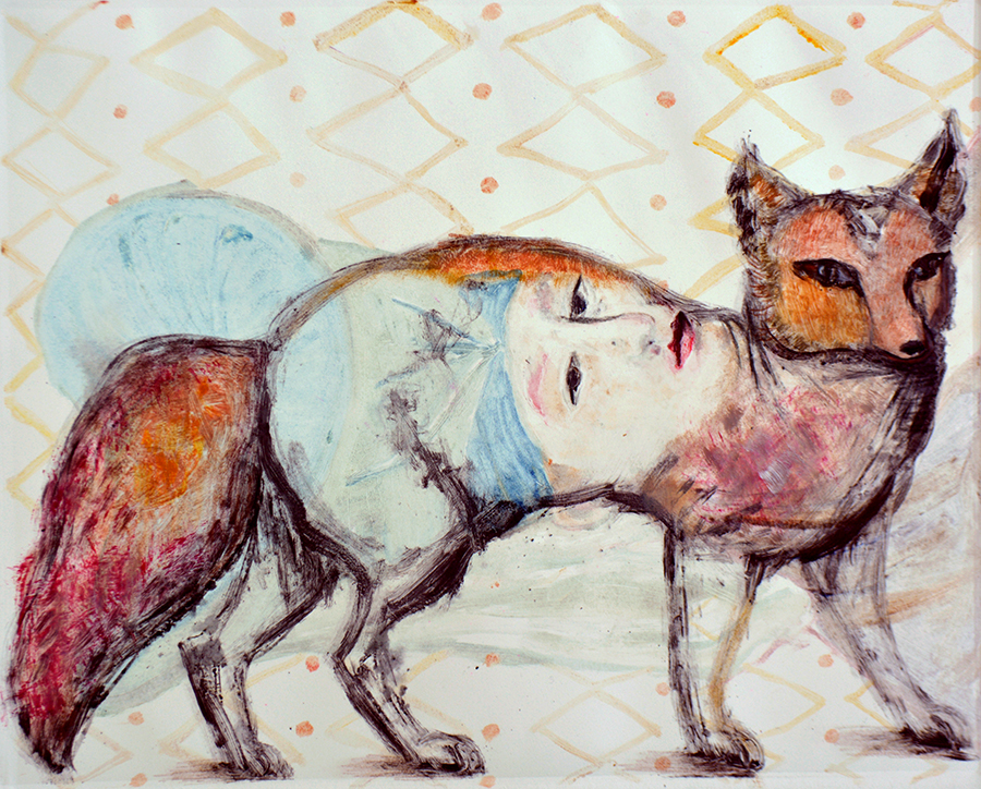 Fox and Lady, monotype, 24 x 30 inches. Sold.